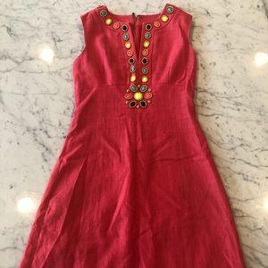 Kate Spade Coral Pink Beaded Jewel Dress